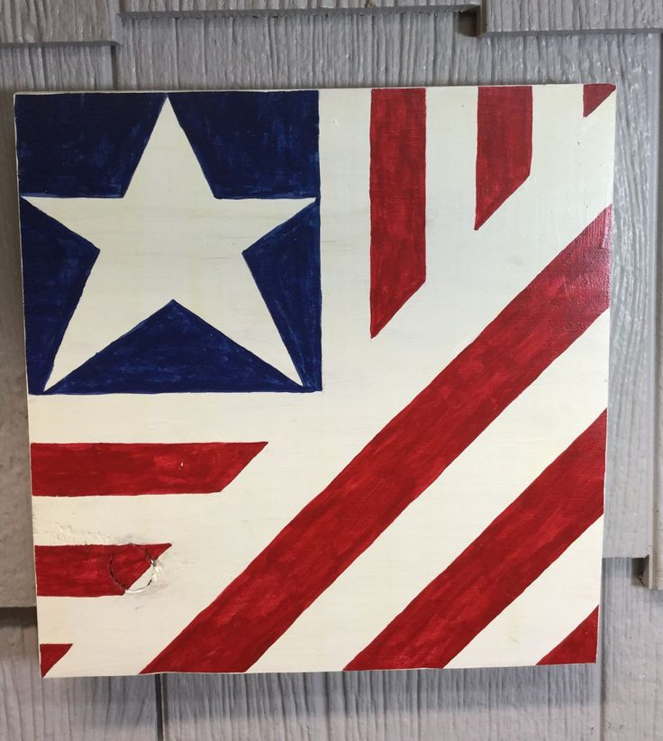 Small folded flag wooden sign