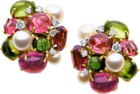 Tourmaline, Peridot, Cultured Pearl, Diamond, Gold Earrings, Seaman Schepps.