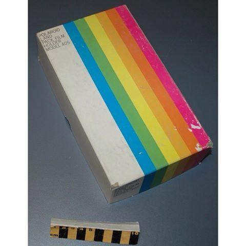 "RAINBOW ""Box lid - Polaroid Land Pack Film Holder. Couvercle de boîte - Polaroid"" - via scitechmuseum on Instagram. #MuseumRainbow"