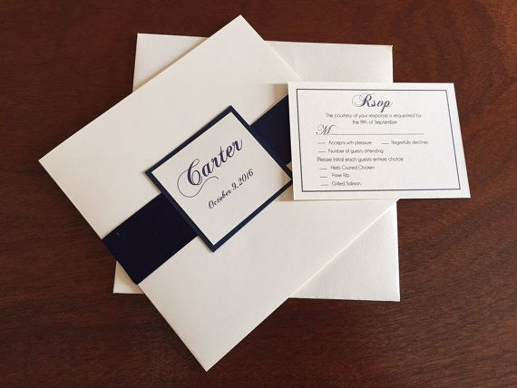 Classic Square Wedding Invitation Satin Ribbon 7X7 Folding Card