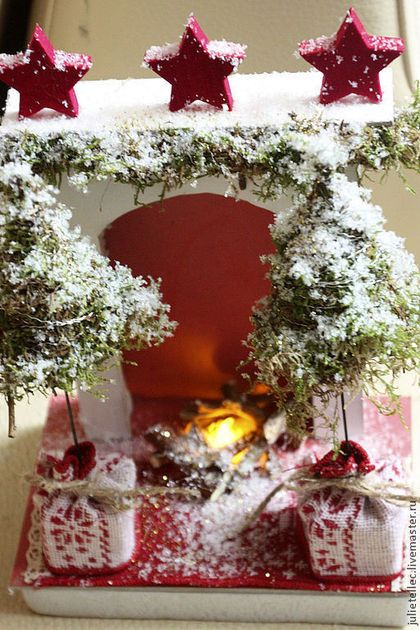 Миниатюрный камин Скандинавия - ярко-красный,белый,камин,миниатюра,новый год