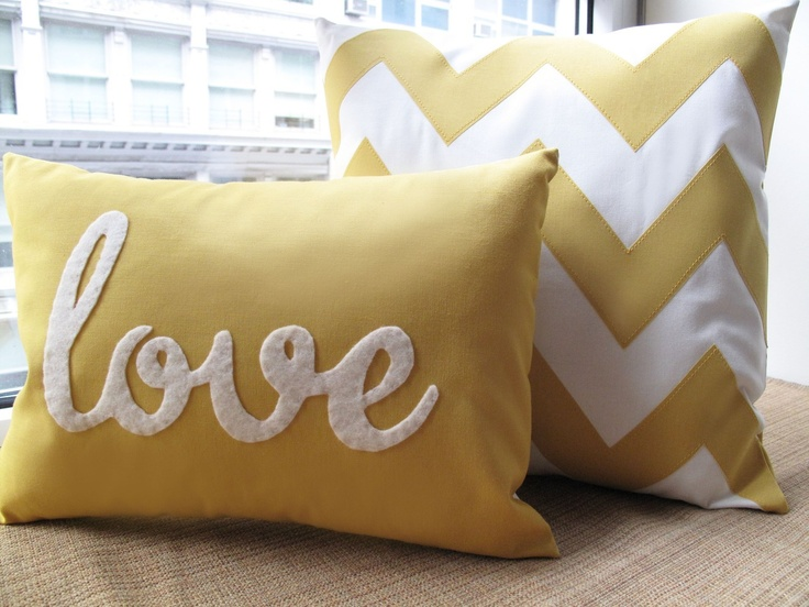 Yellow Love PIllow. $39.00, via Etsy. If only I had the time to embroider something cute...