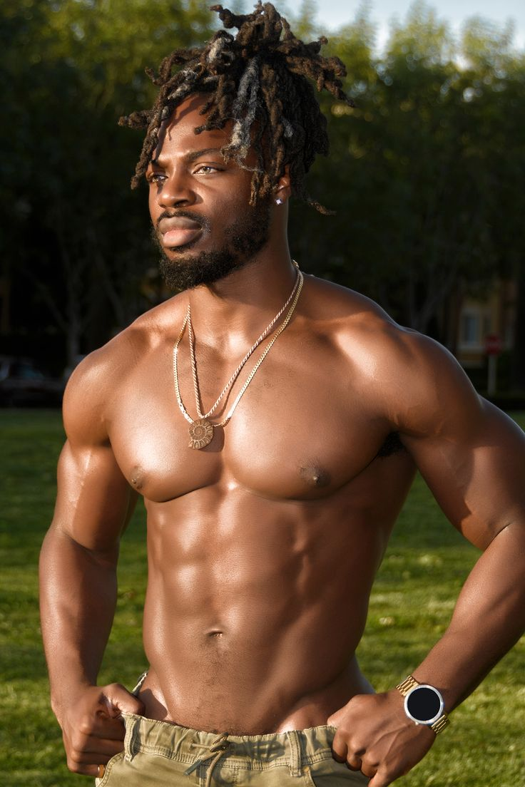 Handsome African American Man With Dreadlocks And Muscles -8583