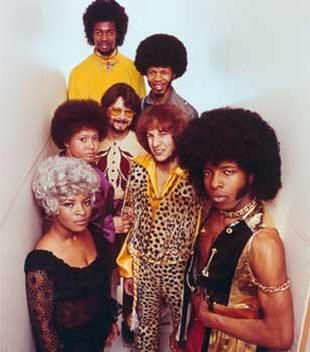Sly & the Family Stone in 1969. Clockwise from top: Larry Graham, Freddie Stone, Gregg Errico, Sly Stone, Rose Stone, Cynthia Robinson, and Jerry Martini.