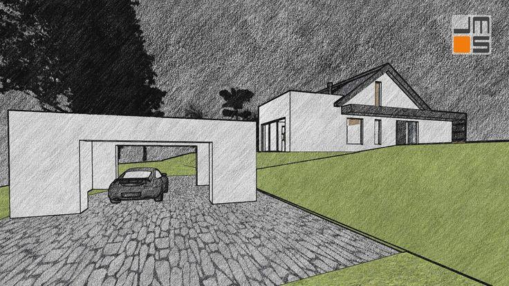 Nowoczesny projekt domu jednorodzinnego , dom na działce ze spadkiem - JMS