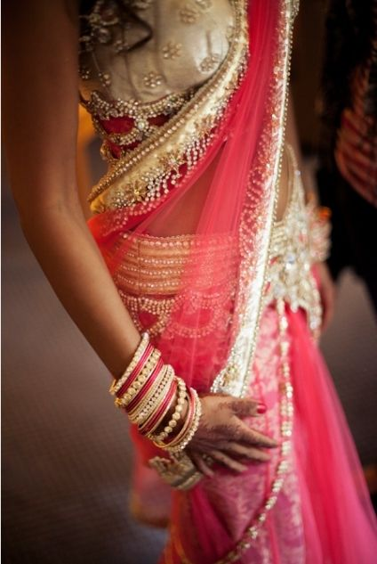 The perfect sari for a sangeet night or engagement.  #bride, #indianbride