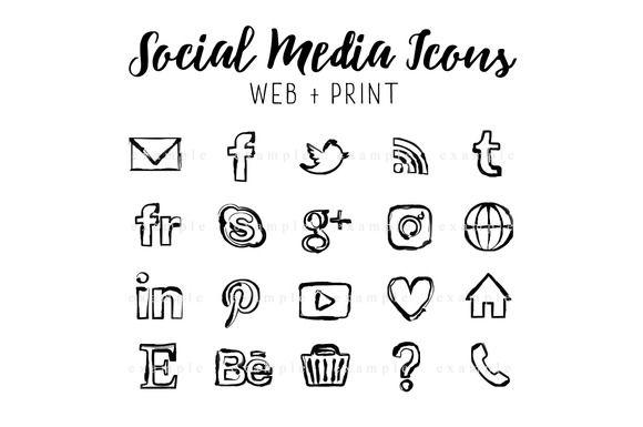Social media buttons black marker - Icons
