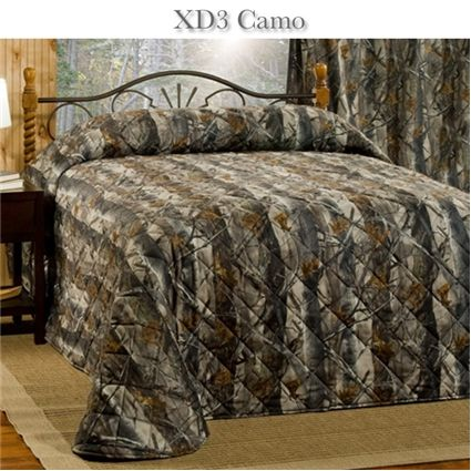 Xd3 grey camo bedspread camo quilt quilted bedspreads for Hunting cabin bedroom