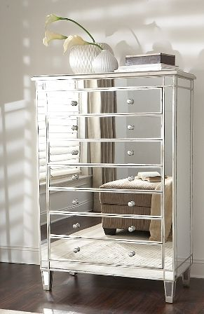 Garbo Tall Mirrored Chest Highboy from GlamFurniture.com - $1297.00