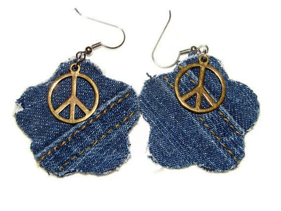 Denim Earrings Flowers of Peace OOAK by bagsbyhags45 on Etsy, $4.50