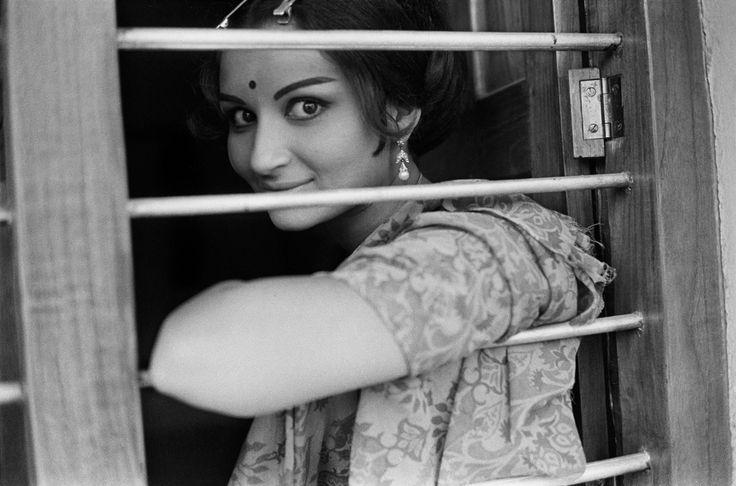 Sharmila Tagore at a train window
