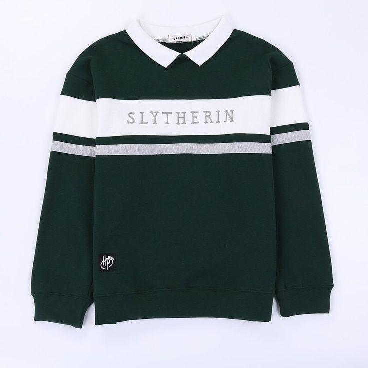 korean style student collar unisex sweatshirt slytherin hoodie
