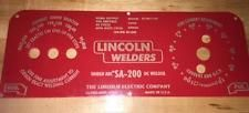 Lincoln Arc Welder SA-200-163M-10926 Laser Engraved Red Face Control Plate