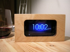 Stump Industries' Clock Dock (maple) handmade in Portland, Oregon ... all natural wooden dock for your iPod/iPhone