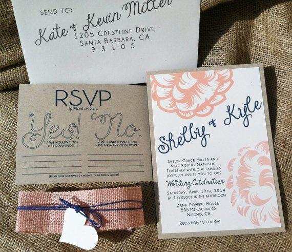 Navy And Peach Wedding Invitations: Modern Wedding Invitations