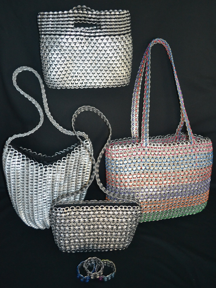 Eco-Shek: One of a kind Stylish Pop-Top Purses/Handbags/Clutches and Bracelets. Handmade in Mexico from up to 2,000 pop-tops. If you like what you see you can purchase one from me ;)