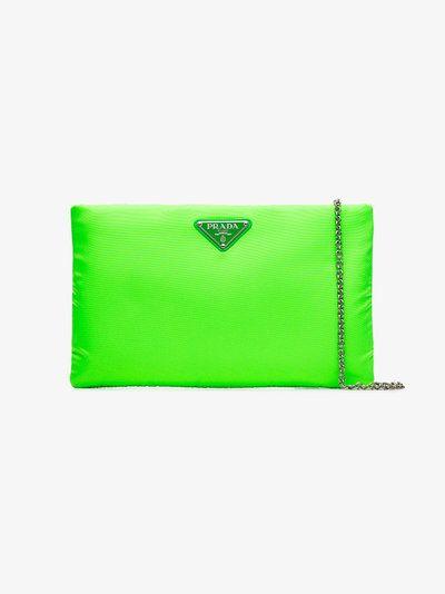 6c4dd099598c Fluorescent green medium padded nylon clutch | bags | Green clutch ...