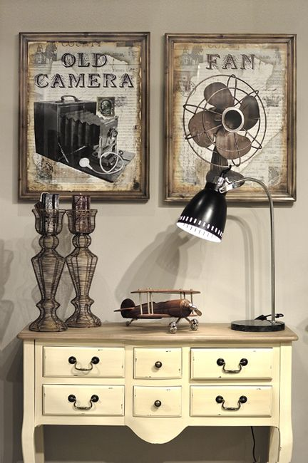 #Vintage canvas, furniture and lamp decoration by #giftcollection