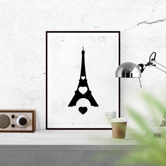 Heart Eiffel Tower Printable Paris Art by WallCandyPrintables