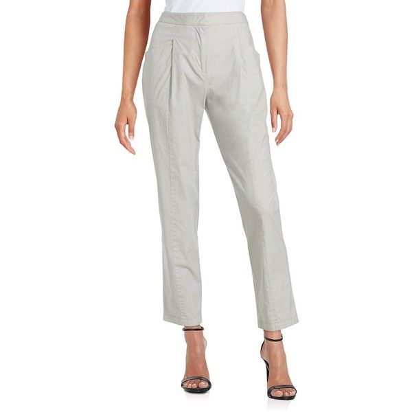 Dkny High Waist Cigarette Pants (170 CAD) ❤ liked on Polyvore featuring pants, cement grey, high waisted cigarette trousers, high-waist trousers, cigarette trousers, high waisted trousers and high-waisted pants