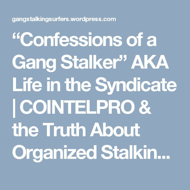 """""""Confessions of a Gang Stalker"""" AKA Life in the Syndicate 