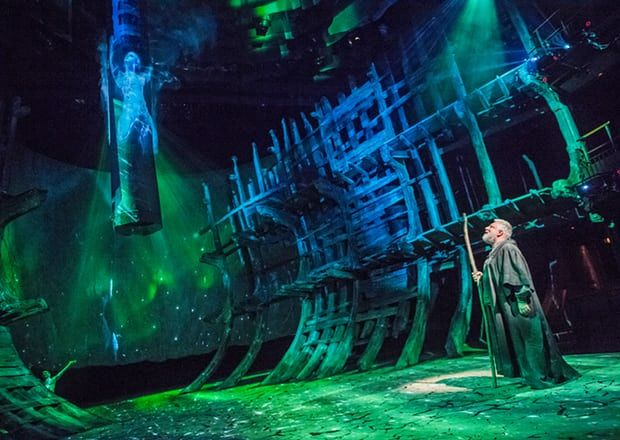 Mark Quartley (Ariel) and Simon Russell Beale (Prospero) in the RSC's hi-tech The Tempest.
