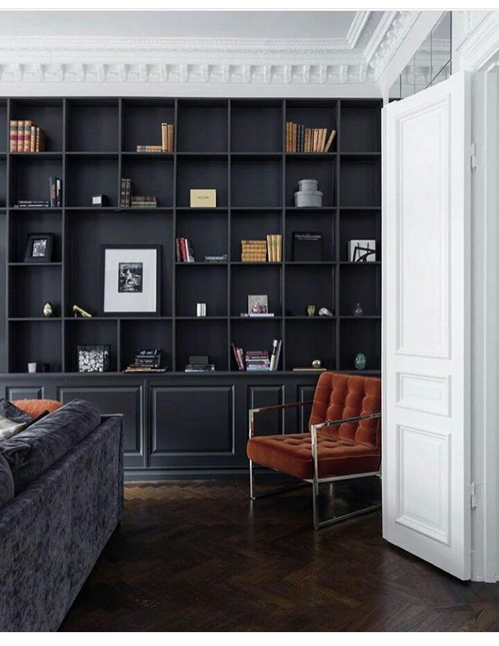 Gorgeous White Mouldings And Black Painted Built In Bookshelves