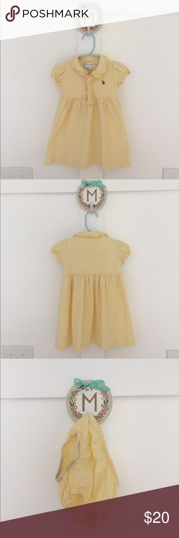 Ralph Lauren Baby Girls Pale Yellow Dress A classic Ralph Lauren Baby Girls yellow dress. It has a couple of barely noticeable stains (see close up pics). Comes with matching bloomers, that have a stain on the edge from bleeding laundry colors (ugh! Also pictured.) From Saks this season. Ralph Lauren Dresses Casual