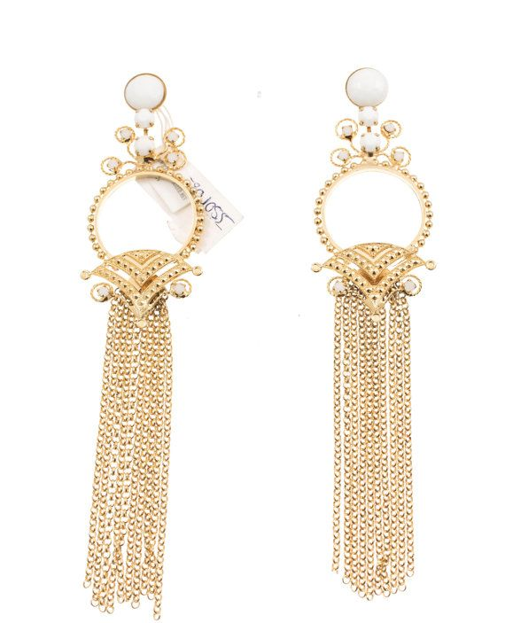 Handmade chandelier earrings with white beads and Swarovski crystals
