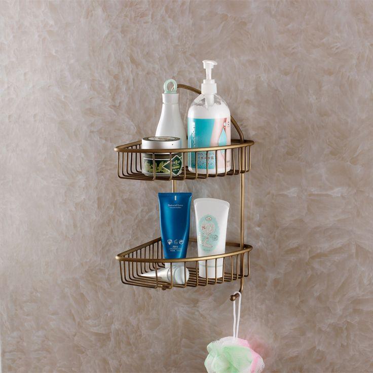 Купить товарВсе меди старинные антикварные аксессуары для ванной комнаты ванная комната туалет туалет стеллажи двойной ванная комната меди корзина в категории Полки для ваннойна AliExpress.