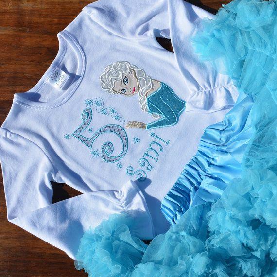 Girls Elsa Frozen Birthday Shirt Tutu Outfit by SewStitchingSweet2 Long-sleeve!