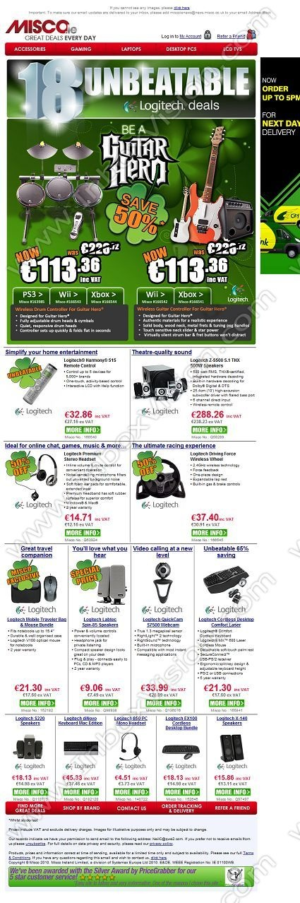 Company:  Misco Computer Supplies Subject:  St Patricks Day deals: up to 65% off Logitech accessories..whilst stocks last               INBOXVISION providing email design ideas and email marketing intelligence.    www.inboxvision.com/blog/  #EmailMarketing #DigitalMarketing #EmailDesign #EmailTemplate #InboxVision  #SocialMedia #EmailNewsletters