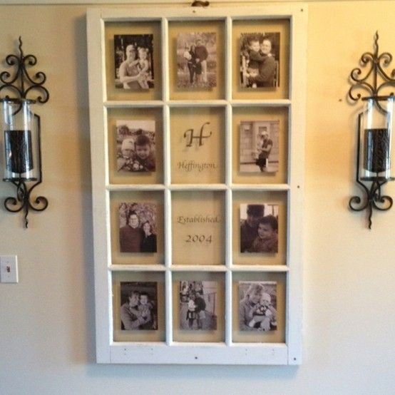 Old window pane with pictures