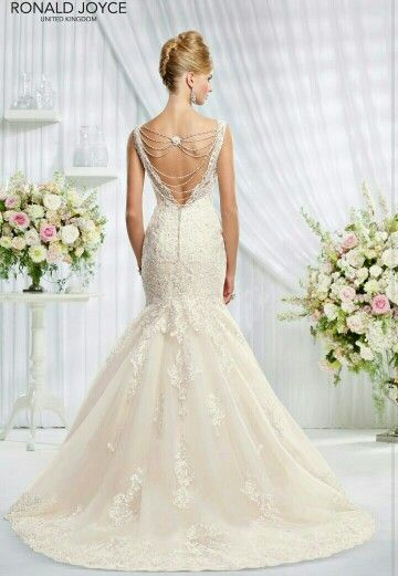 My dress! Erin by Ronald Joyce. The back. Love the beading detail