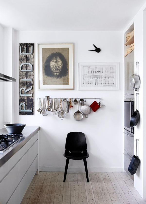 """hang the kitchen tools up on the wall with """"S"""" garden hook"""