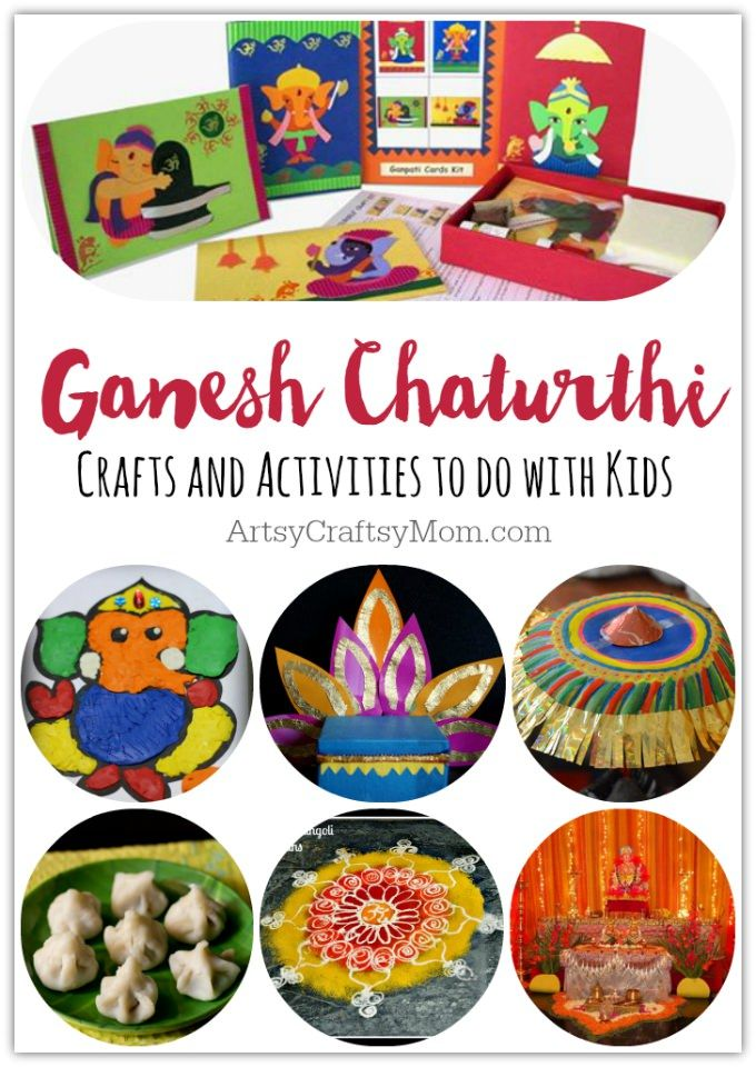 via ArtsyCraftsyMom.com - Ganesh Chaturthi Crafts and Activities to do with Kids - Make a Clay Ganesha, decorate, Ganesha's throne & umbrella, rangoli ideas, recipes, books and more