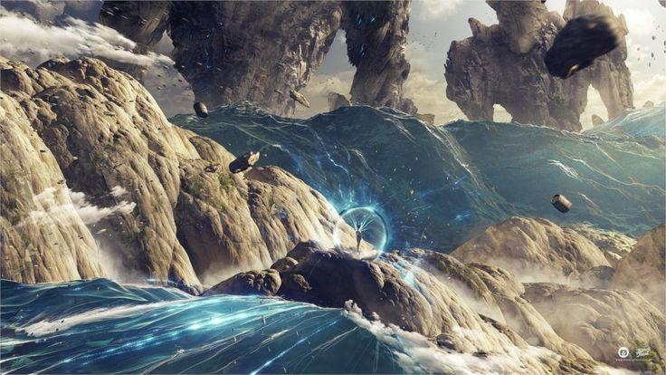 Искусства фантазия цифрового искусства планеты плавучий остров море Украшения Дома Холст Плакат