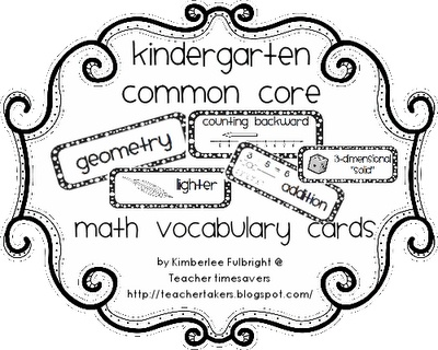 K common core math vocabulary cards - printable