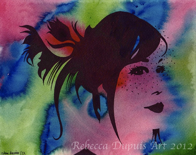 """""""Contemplative"""" in Watercolor and Ink on Cotton Paper by Rebecca Dupuis.  Size 8""""x10"""". If you have any questions or would like to purchase artwork, contact me on Facebook at RebeccaDupuisArt."""