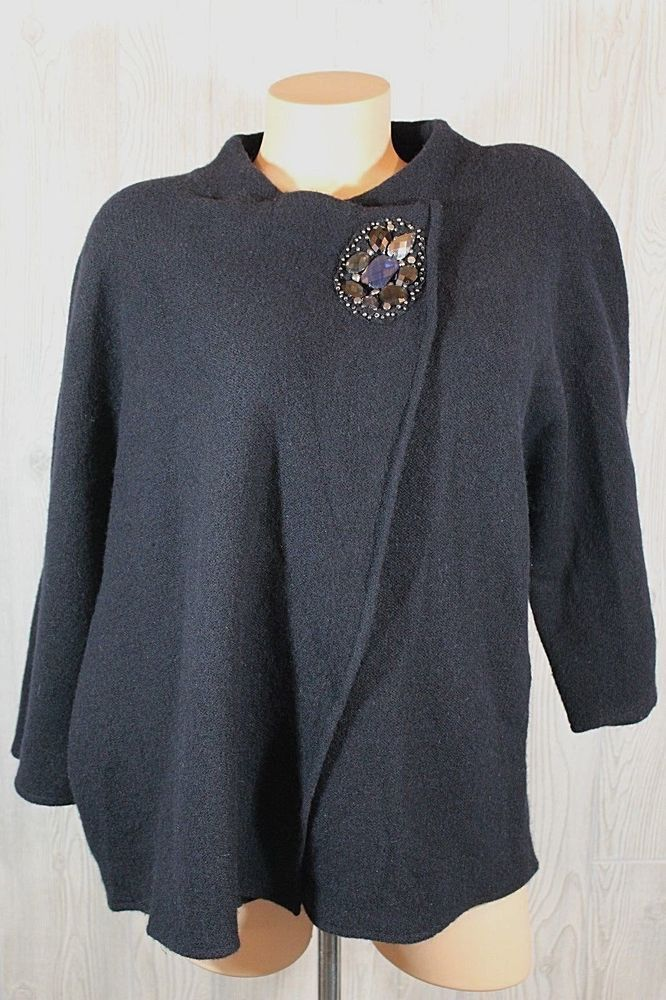 JM Collection Women Sweater Wrap Large Wool Navy Blue Cardigan Beads 3/4 Sleeves #JMCollection #Cardigan #Work