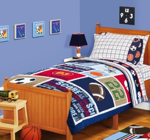 Sports Boys Baseball Basketball Football Twin Comforter Set 4 Piece Bed In A