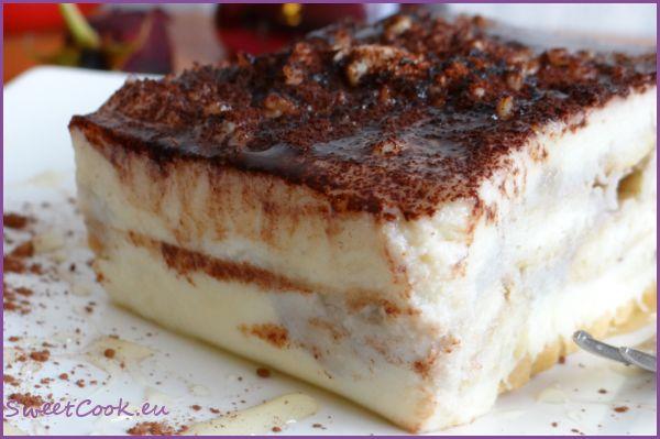 Лесна бисквитена торта с млечен крем, яйца, без печене