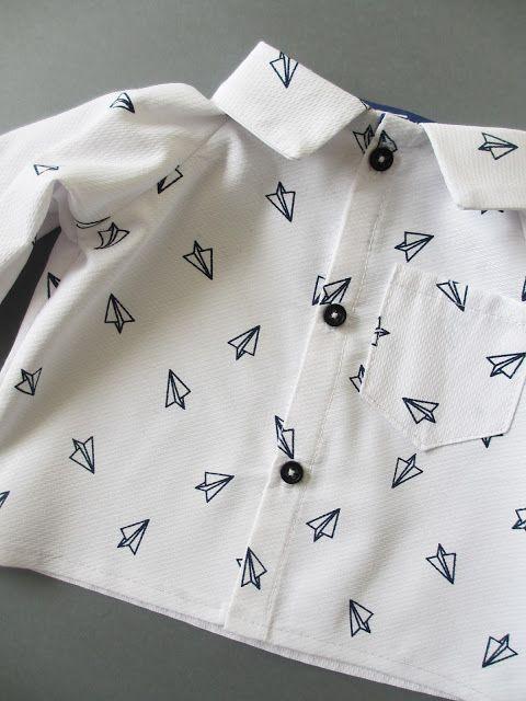 """Patron gratuit de La Droguerie pour Marie Claire Idées, n°106 - Chemise pour petit garçon """"Parc Monceau"""" / Free pattern for baby boys - Shirt"""