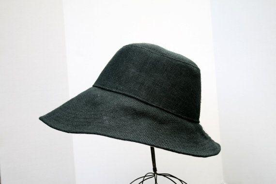 Chapeau féminin, disquette été chapeau à large bord, noir de toile de jute