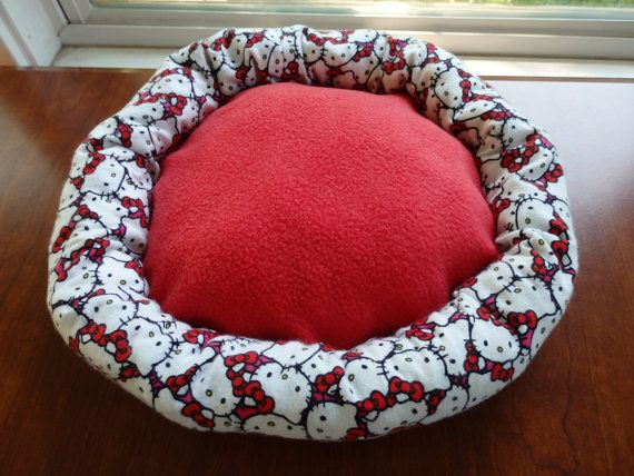 Pet Bed Cuddle Bed Kitty bed Hello Kitty bed Fleece by SewCat