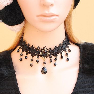 Romantic Black Lace Choker Necklace Gothic Choker by FairybyFoxie