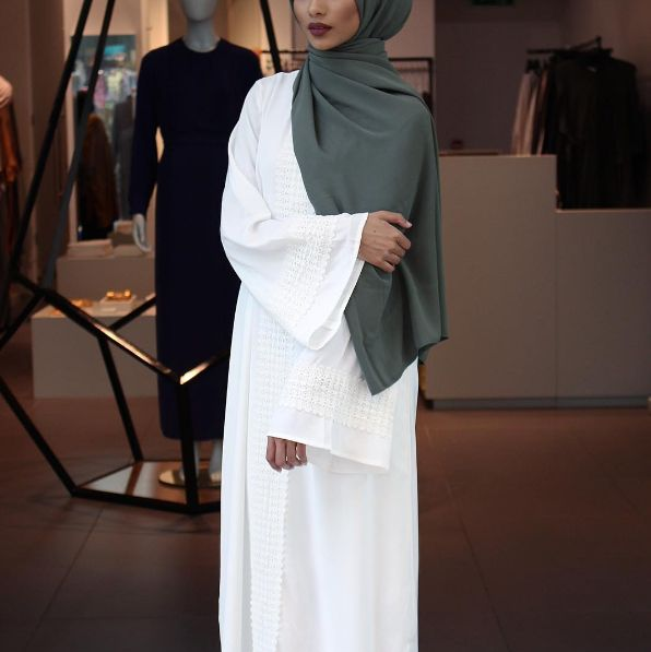 INAYAH | Ivory #Kaftan with Lace, also available in Mustard, paired with our Khaki Soft Touch #Hijab - shop the look at www.inayah.co