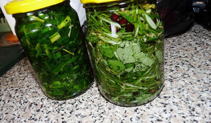 Pažitkový olej: Pažitku nasekáme na drobné kousky. Na dno sklenice nalijeme trošku oleje a pěchujeme bylinku. Pažitku zhruba v polovině...