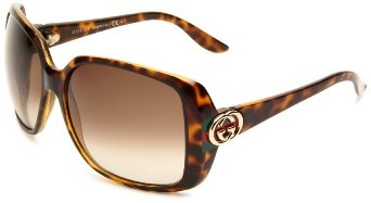 Gucci GG3166/S Sunglasses - 0OD9 Havana Green Red Green (CC Brown Gradient Lens) - 59mm