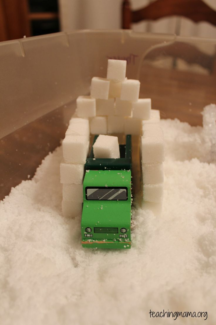 Winter Sensory Play- Day 2 Sugar cubes as snow blocks?